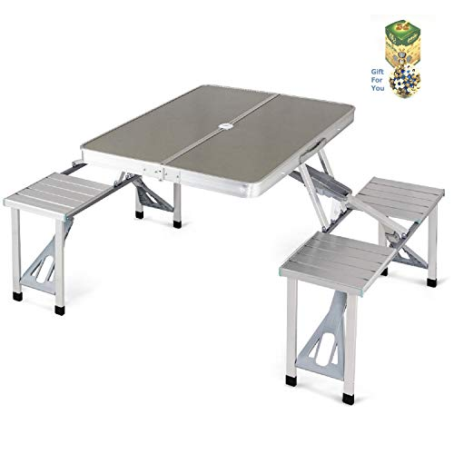 Tables Too Folding Picnic Bench - COSTWAY Aluminum Portable Folding Picnic Table with 4 Seats