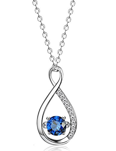FUNRUN JEWELRY 925 Sterling Silver Infinity Necklace for Women Jewelry 6MM Blue Cubic Zirconia Pendant Necklace,18