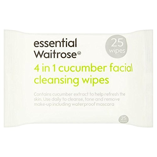 Cucumber Facial Wipes essential Waitrose 25 per pack (PACK OF 2)