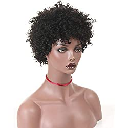 """Brazilian Fluffy Tight Curls Wig WShort Cut Kinky Human Hair No Lace Wig for Black Women, 6"""" Afro Kinky Curly Unprocessed Remy Human Hair Wig Jerry Curl (Kinky Afro-1, 6""""1B#)"""