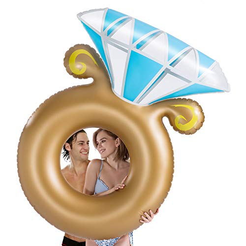 Tobeape Inflatable Diamond Ring Pool Float, Engagement Ring Bachelorette Party Decorations Toys, Outdoor Water Lounge Summer Beach Swimming Pool Floats for Adults Kids