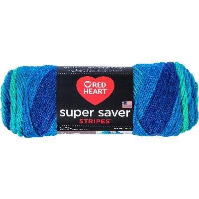 (Red Heart Super Saver Stripes Yarn, 1 Ball, Cool Stripes 4967)