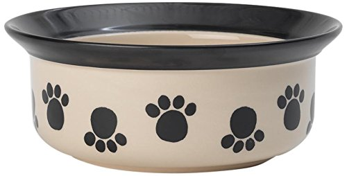 (PetRageous 14027 Paws n' Around Black 4 Cups Bowl)