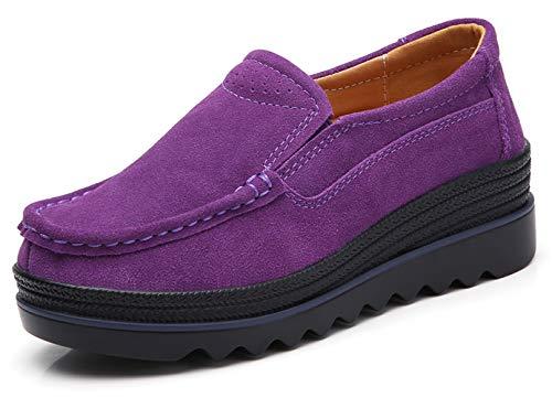 TSIODFO Women Platform Shoes Slip On Sneakers Comfort Flats Wedge Casual Shoes (3088-Purple-41)