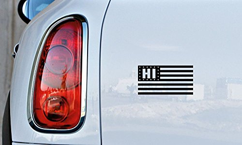Hawaii HI State Flag Star Car Vinyl Sticker Decal Bumper Sticker for Auto Cars Trucks Windshield Custom Walls Windows Ipad Macbook Laptop and More (Black)