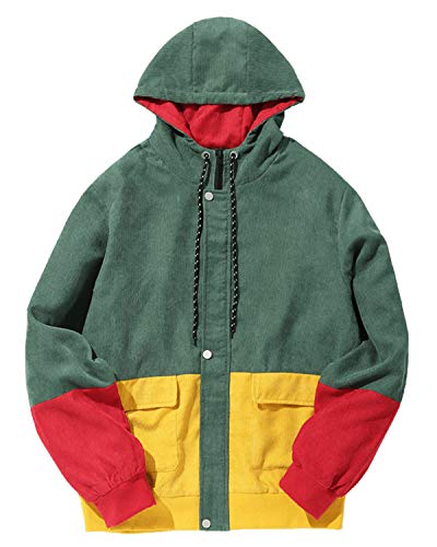 ZAFUL Men Color Block Patchwork Corduroy Hooded Jacket Long Sleeve Oversized Coat Green ()