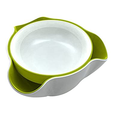 Joseph Joseph DDWG010GB Double Dish Serving Bowl Pistachio Pedestal Snack Dish Olive Nut Server Melamine Dishwasher Safe, White