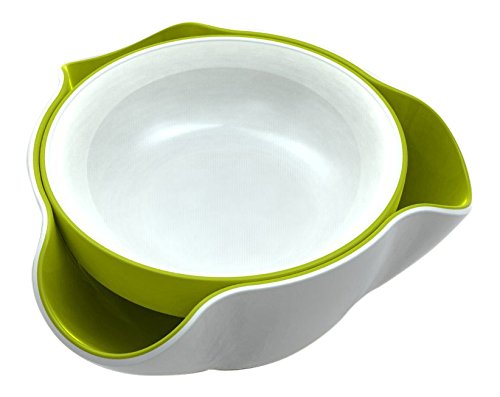 Clever Clean Sunflower - Joseph Joseph DDWG010GB Double Dish Pistachio Bowl and Snack Serving Bowl, Green/White