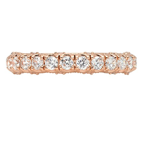 3.3ct Brilliant Round Cut Designer pave set Statement Solitaire Stacking Band 14k Rose Gold, 5, Clara Pucci by Clara Pucci