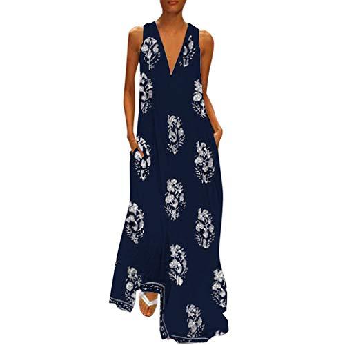 (Women Vintage Daily Casual V Neck Sleeveless Boho Floral Sundress Maxi Dress)