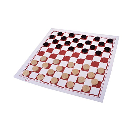 Dengguoli 40 x Natural Wood Chinese Checkers Draughts Chess Pieces, Dark and Brown (20 of Each)