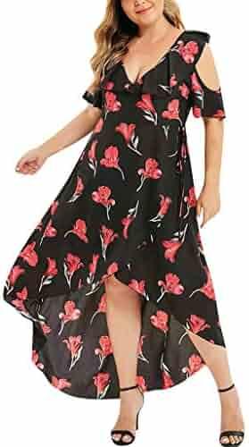 16ad11e8f66 1KTon Womens Fashion Plus Size Print Asymmetrical V-Neck High Waist Dress