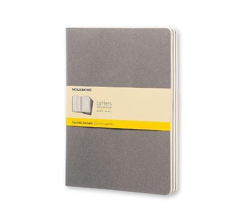 Moleskine Cahier Journal (Set of 3), Extra Large, Squared, Pebble Grey, Soft Cover (7 1/2