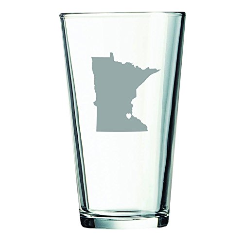Minnesota-State Outline-Heart-16 oz. Pint Glass (Mn Beer Glass compare prices)