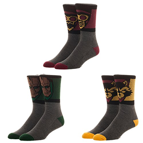 Marvel Comics Guardians of the Galaxy 3 Pair Athletic Crew Socks