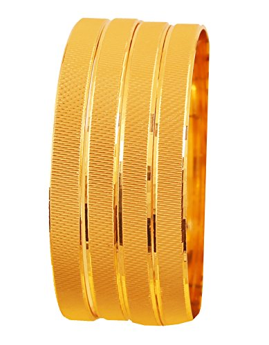 Touchstone NEW Golden Bangle Collection Indian Bollywood Desire Brass Base Artistic Indian Knitted Mat Work Designer Jewelry Bangle Bracelets Set of 4 In Gold Tone For Women. Desire Jewelry