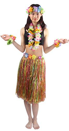 [Good Quality 5pcs/ set Adult Hawaiian Luau 60cm multicolor grass hula skirt] (Hawaiian Costumes For Adults)