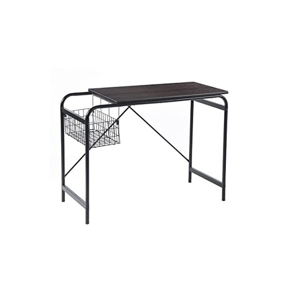 Computer Writing Desk with Metal Storage Basket Industrial Modern Simple Laptop Desk Wooden Study Workstation Space Saving Table Ideal for Home Office Dormitory Small Room or Corner, Walnut -  - writing-desks, living-room-furniture, living-room - 41wYdYZn1IL. SS570  -