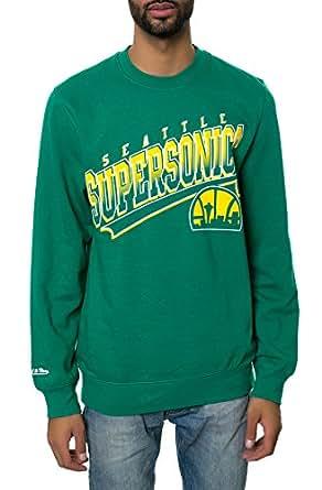 Mitchell & Ness Men's Seattle Supersonics Diagonal Logo Sweatshirt Large Green