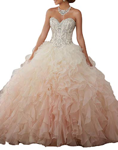 8b0f3b1bb5c2f Aishanglina Women s Sweetheart Heavy Beaded Organza Ruffle Quinceanera  Dresses Prom Ball Gowns Lace Up Back