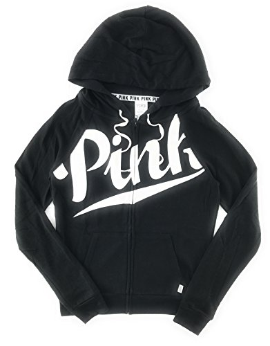 Victoria's Secret Pink Perfect Zip Hoodie Pure Black X-Small