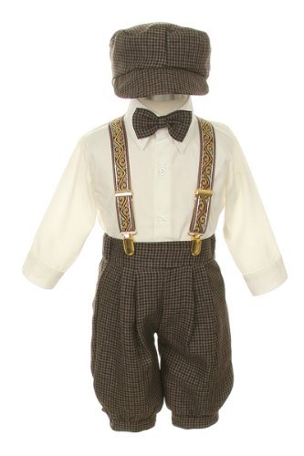 Vintage Dress Suit-Bowtie,Suspenders,Knickers Outfit Set for Boys-Toddler, Houndstooth-Beige/Ivory-2T ()
