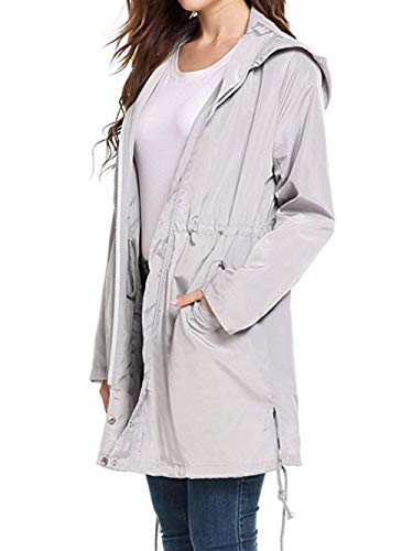 vent Respirant Monochrome Coupe Poche Pluie Hem Four Femmes Vague Style De Veste Imperméable Parka Point À Seasons Fonctionnelle Simple Capuche Pour Grau wIOHWq