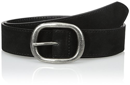 Belgo Lux Women's Suede Leather Belt with Antique Silver Finish Buckle, Black, L