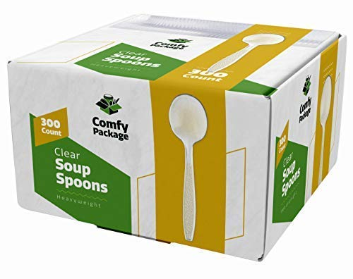 [300 Pack] Heavyweight Disposable Clear Plastic Soup Spoons -