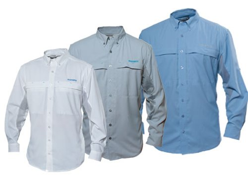 Shimano Vented Long Sleeve Button Down Shirt - White Size:XL (Shimano Fishing Shirts For Men)