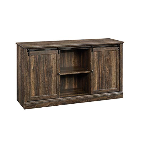 Sauder Barrister Lane Sliding Door Entertainment Credenza, Iron Oak finish