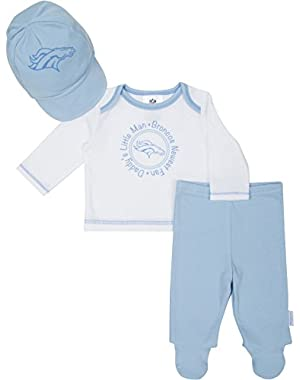 Baby Boys Denver Broncos Take Me Home Set Top,pant and Cap 0-3 Months
