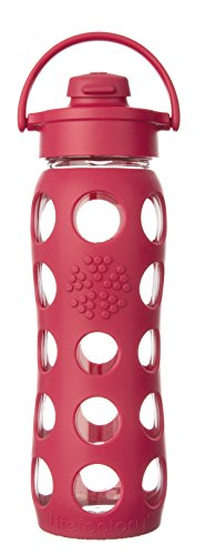 Lifefactory 16-Ounce BPA-Free Glass Water Bottle with Flip Cap & Silicone Sleeve, Raspberry