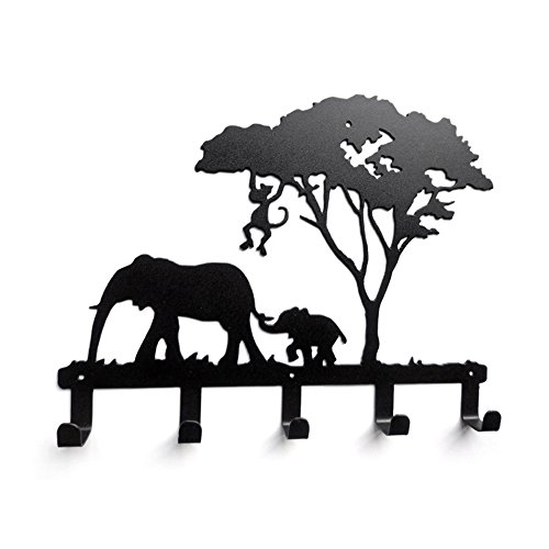 YOURNELO Cute Ironwork Cartoon Characters Animals Art Wall Mounted Decorative Coat Rack Hooks (Elephant)