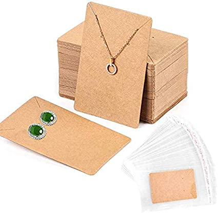 100 Kraft Paper Jewelry Earring Display Cards with Clear Hanging Opp Bags