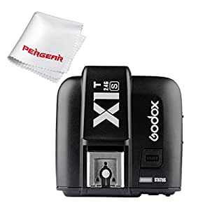 Godox X1T-S 2.4G TTL Wireless Flash Trigger Transmitter for Sony DSLR Cameras with MI Shoe e.g. A77II A7RII A7R A58 A99 ILCE6000L - With Pergear Cleaning Kit