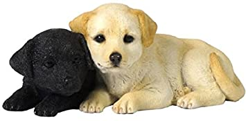4.75 Inch Labrador Puppies Decorative Statue Figurine, Tan and Black