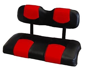 Kool Cushions EZGOTXT-BKRDTPREAR-01 -Custom Vinyl Golf Cart Seat Covers Front and Rear-Black With Red Top - For EZ-GO TXT Golf Cart