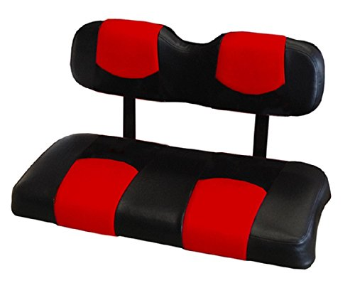 Kool Cushions EZGOTXT-BKRDTPREAR-01 -Custom Vinyl Golf Cart Seat Covers Front and Rear-Black With Red Top - For EZ-GO
