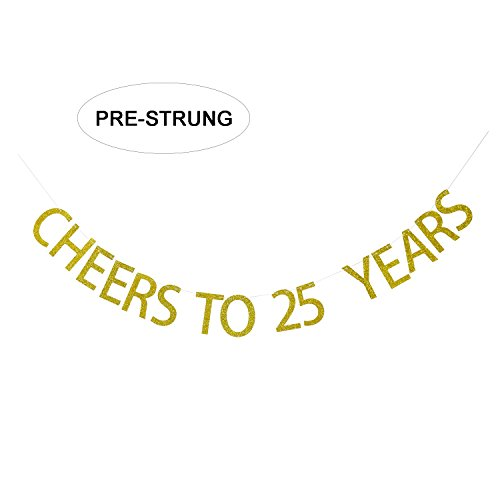 Gold Glitter Cheers to 25 Years Banner - 25th Birthday Party Decorations - 25th Wedding Anniversary Decorations - No Assembly Required -