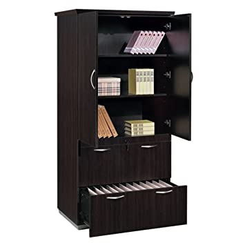 DMi Furniture DMi Pimlico Laminate 2 Drawer Wood Lateral File Storage Cabinet-Mocha
