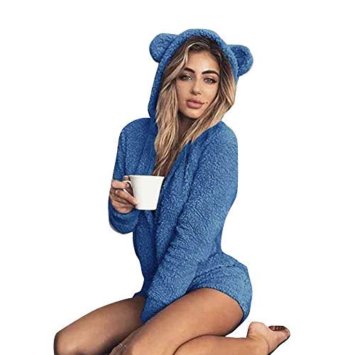 Okvpajdo Women Sherpa Fleece Pajama Suit Hooded Cute Bear Ears Long Sleeve Zipper Short Jumpsuit Sleepwear Romper Blue -