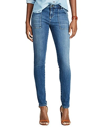 Chaps Womens Petite Slimming Fit Madden Slim Leg Jeans Blue Petite (Chaps Jeans For Women)