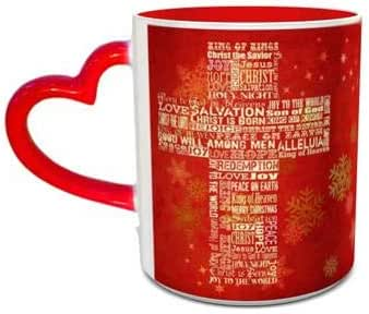 White and Red Heart Handle Ceramic Mug with Christmas Cross Design 483