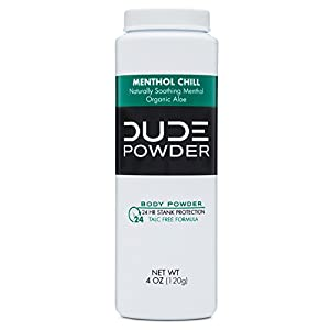 DUDE Body Powder, Natural Deodorizers, Cooling Menthol & Organic Aloe, Talc Free, 1 Bottle