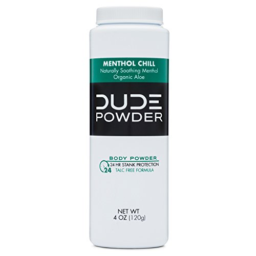 DUDE Body Powder 4 Ounce Bottle Natural Deodorizers Cooling Menthol & Organic Aloe, Talc Free Formula, Corn-Starch Based Daily Post-Shower Deodorizing Powder for Men