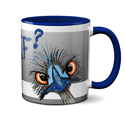 WTF Funny Ostrich Mug by Pithitude- One Single 11oz. Blue Coffee Cup