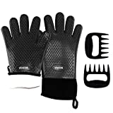 Youda Silicone BBQ Oven Gloves (Black) & Meat Claws - Extra Thick Non-Slip Waterproof Heat Resistant Oven Mitts & Ultra-Sharp Blades Claws Cooking, Baking, Grilling