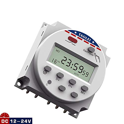 TAOLEI Timer Switch 1224A1 DC 12V to 24V 16A Programmable Automatic Switch Timing Switch Relay Digital LCD Display Two working voltages (2.4 x 2.4 x 1.3in)