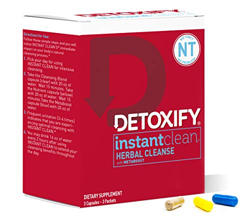 Detoxify Instant Clean - 3 Capsules | Professionally Formulated Herbal Detox Capsules | Enhanced with Metaboost, Milk Thistle Extract, Uv Ursi & Ginseng -